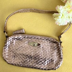 ELLIOTT LUCCA Rose Gold Woven Leather Bag